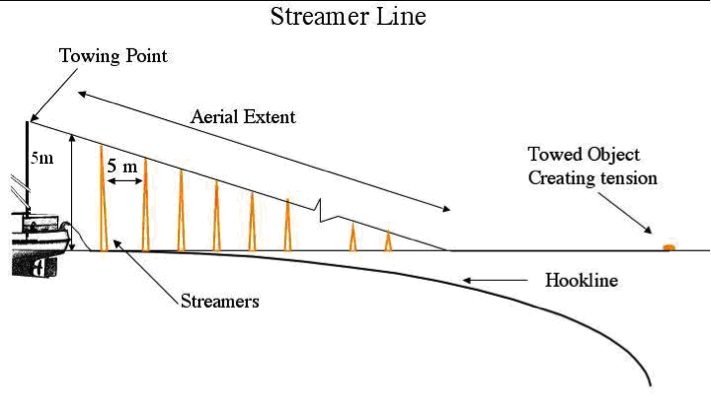 Figure 1. Diagram of Bird Scaring Streamer Line.
